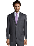 Grey Wool Stripe Center Vent Suit Jacket | Palm Beach Wool Collection | Sam's Tailoring Fine Men Clothing