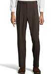 Brown Wool/Poly Pleated Expander Smaller Waist Pant | Palm Beach Dress Pants | Sam's Tailoring Fine Men Clothing