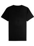 Black Jersey Fabric Short Sleeve V-Neck Tee | Vastrm Henleys Collection | Sam's Tailoring Fine Men Clothing