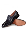 Black/Charcoal Gray Insignia Alligator & Ostrich Loafer | Mauri Men's Loafers | Sam's Tailoring Fine Men's Clothing