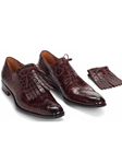 Burgundy Bligny Alligator Tasseled Laces Oxford | Mauri Dress Shoes | Sam's Tailoring Fine Men's Shoes
