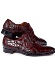 Ruby Red Palladio Alligator Men's Derby Shoe | Mauri Dress Shoes | Sam's Tailoring Fine Men's Shoes