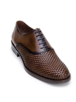 Antique Copper Hand Woven Pattern Leather Oxford | Belvedere Studio Collection Shoes | Sam's Tailoring Fine Men's Clothing