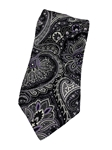 Black, Lavender & White Paisley Silk XL Tie | Italo Ferretti Extra Long Ties | Sam's Tailoring Fine Men's Clothing