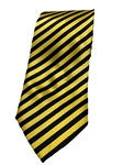 Yellow And Black Stripe Silk Extra Long Tie | Italo Ferretti Extra Long Ties | Sam's Tailoring Fine Men's Clothing