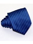 Polished Blue Extra thin Stripes Regimental Silk Tie | Italo Ferretti Ties Collection | Sam's Tailoring Fine Men's Clothing