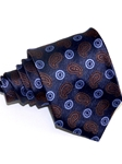 Brown & Light Blue Paisley Pattern Woven Silk Tie | Italo Ferretti Ties Collection | Sam's Tailoring Fine Men's Clothing
