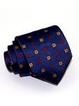 Navy Blue With Floral Pattern Sartorial Woven Silk Tie | Italo Ferretti Ties Collection | Sam's Tailoring Fine Men's Clothing