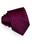 Burgundy With Micro Polka Dots Tailored Silk Tie | Italo Ferretti Ties Collection | Sam's Tailoring Fine Men's Clothing
