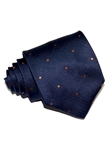 Navy Blue With Bronze Dots Sartorial Woven Silk Tie | Italo Ferretti Ties Collection | Sam's Tailoring Fine Men's Clothing