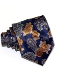 Navy, Yellow & Grey Floral Sartorial Woven Silk Tie | Italo Ferretti Ties Collection | Sam's Tailoring Fine Men's Clothing