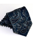 Green & Gray Paisley Pattern Tailored Woven Cotton Tie | Italo Ferretti Ties Collection | Sam's Tailoring Fine Men's Clothing