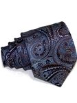Light Blue & Brown Paisley Tailored Woven Silk Tie | Italo Ferretti Ties Collection | Sam's Tailoring Fine Men's Clothing