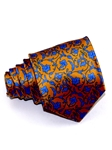 Light Orange & Sky Blue Floral Pattern Tailored Silk Tie | Italo Ferretti Ties Collection | Sam's Tailoring Fine Men's Clothing