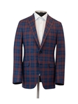 Blue/Burgundy Plaid Weightless Men's Jacket | Hickey Freeman Sport Coat | Sam's Tailoring Fine Men Clothing