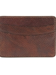 Brown Italian Glazed Milled Calfskin Leather ID/Card Case | Torino Leather Wallets | Sam's Tailoring Fine Men's Clothing
