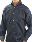 XMI Midnight Navy Stripe N7869 - Sport Shirts | Sam's Tailoring Fine Men's Clothing