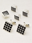 Hickey Freeman Checkerboard Stud Set 5603924R - Cufflink and Bag Accesories | Sam's Tailoring Fine Men's Clothing