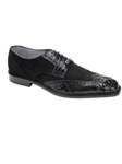 Belvedere Black Pergola Genuine Crocodile and Suede Leather Shoes 1452 - Fall 2014 Shoe Collection | Sam's Tailoring Fine Men's Clothing