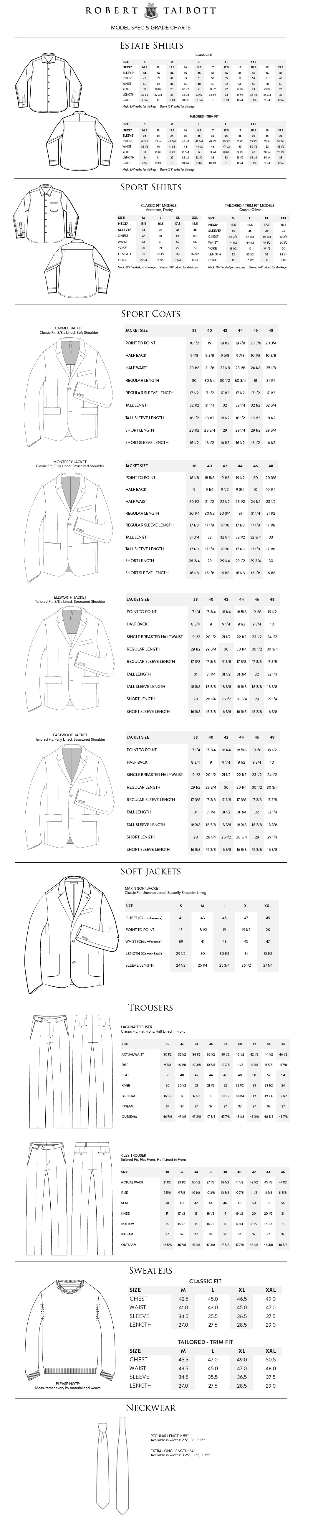 Robert Talbot Sizing Information